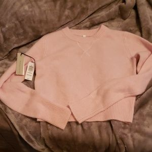 Aritizia pink cashmere slightly cropped sweater